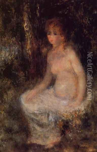 Nude Sitting In The Forest Oil Painting - Pierre Auguste Renoir