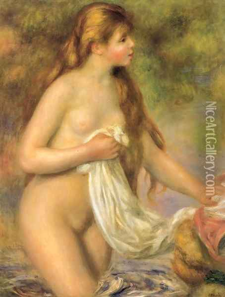 Bather with Long Hair Oil Painting - Pierre Auguste Renoir