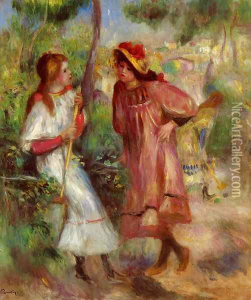 Two Girls In The Garden At Montmartre Oil Painting - Pierre Auguste Renoir
