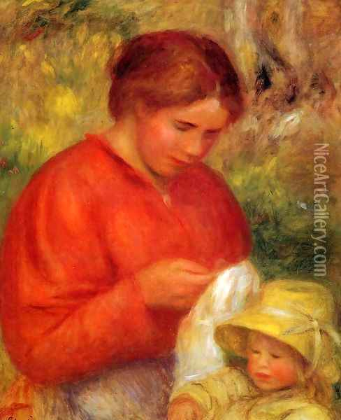Woman And Child Oil Painting - Pierre Auguste Renoir