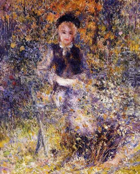 Young Woman On A Bench Oil Painting - Pierre Auguste Renoir