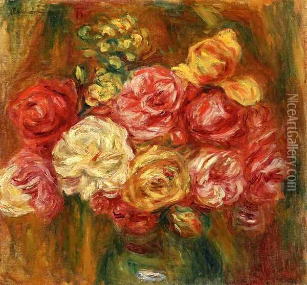 Bouquet of Roses in a Green Vase I Oil Painting - Pierre Auguste Renoir