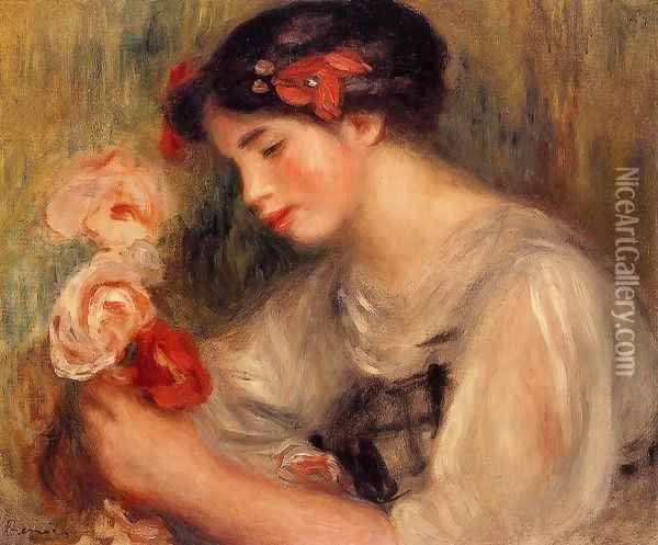 Portrait Of Gabrielle Aka Young Girl With Flowers Oil Painting - Pierre Auguste Renoir