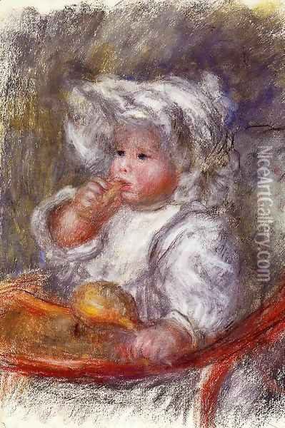 Jean Renoir In A Chair Aka Child With A Biscuit Oil Painting - Pierre Auguste Renoir