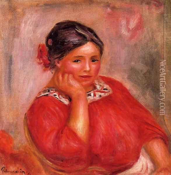 Gabrielle In A Red Blouse2 Oil Painting - Pierre Auguste Renoir