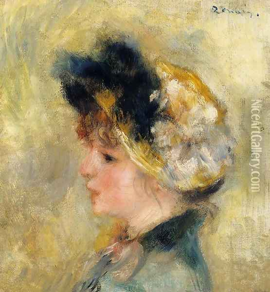 Head Of A Young Girl Oil Painting - Pierre Auguste Renoir
