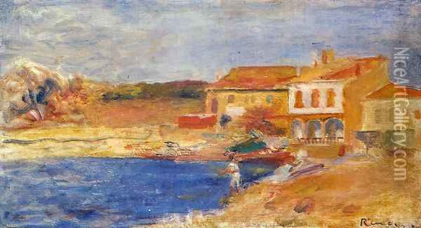Houses By The Sea Oil Painting - Pierre Auguste Renoir