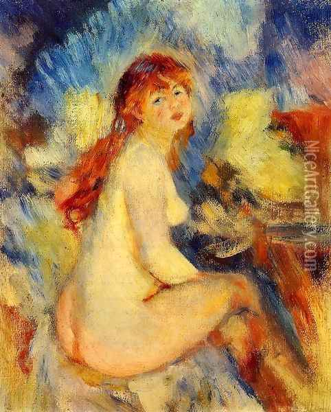 Bust of a Nude Female Oil Painting - Pierre Auguste Renoir