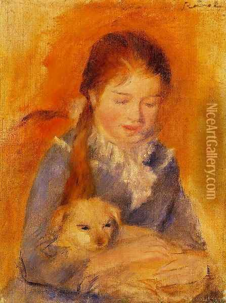 Girl With A Dog Oil Painting - Pierre Auguste Renoir