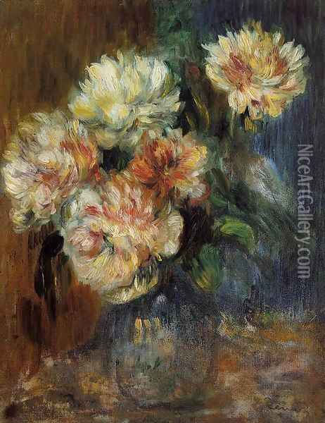 Vase Of Peonies Oil Painting - Pierre Auguste Renoir