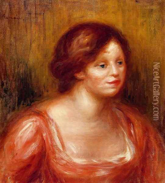 Bust Of A Woman In A Red Blouse Oil Painting - Pierre Auguste Renoir