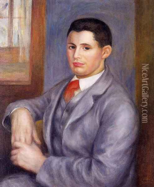 Young Man In A Red Tie Oil Painting - Pierre Auguste Renoir
