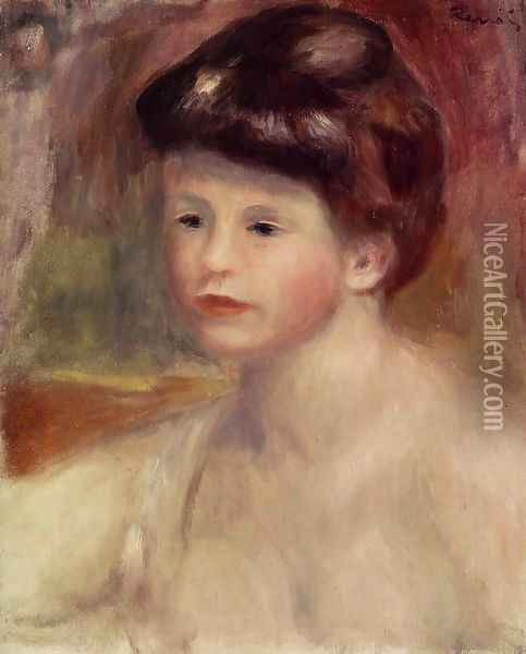 Bust Of A Young Woman Oil Painting - Pierre Auguste Renoir