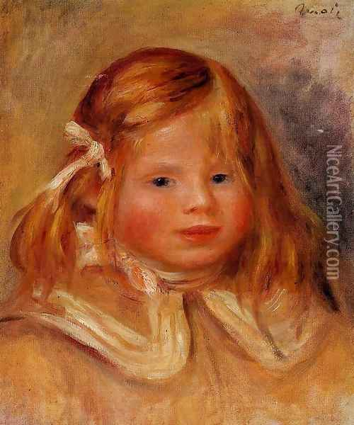 Coco In A Red Ribbon Oil Painting - Pierre Auguste Renoir