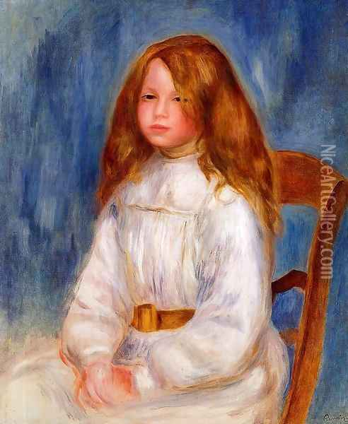 Seated Girl With Blue Background Oil Painting - Pierre Auguste Renoir