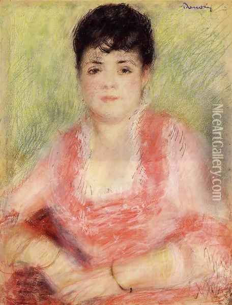 Portrait Of A Woman In A Red Dress Oil Painting - Pierre Auguste Renoir