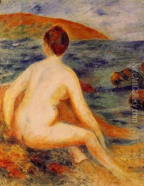 Nude Bather Seated By The Sea Oil Painting - Pierre Auguste Renoir