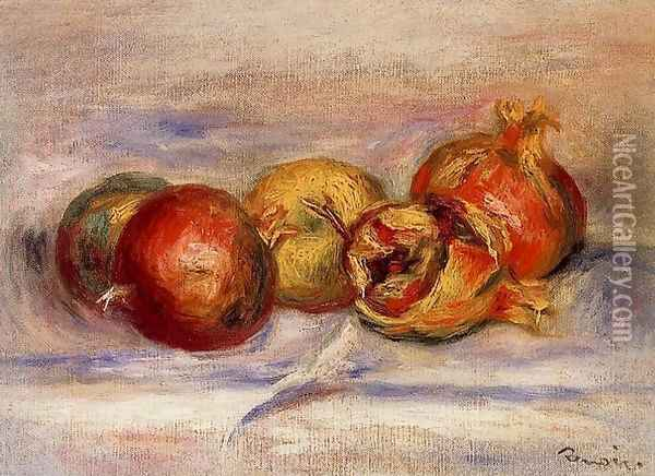 Three Pomegranates And Two Apples Oil Painting - Pierre Auguste Renoir