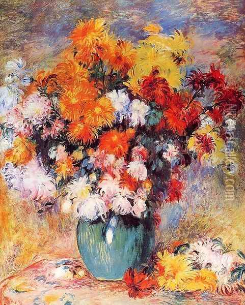 Vase Of Chrysanthemums Oil Painting - Pierre Auguste Renoir