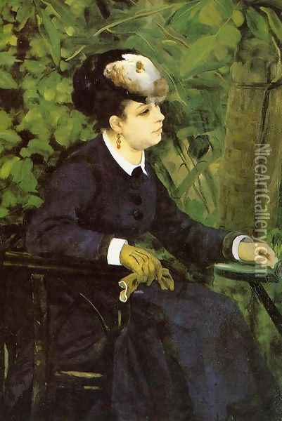 Woman In A Garden Aka Woman With A Seagull Oil Painting - Pierre Auguste Renoir