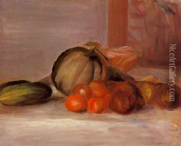 Still Life With Melon2 Oil Painting - Pierre Auguste Renoir