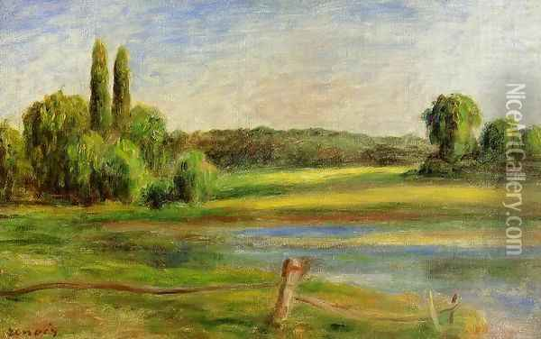 Landscape With Fence Oil Painting - Pierre Auguste Renoir