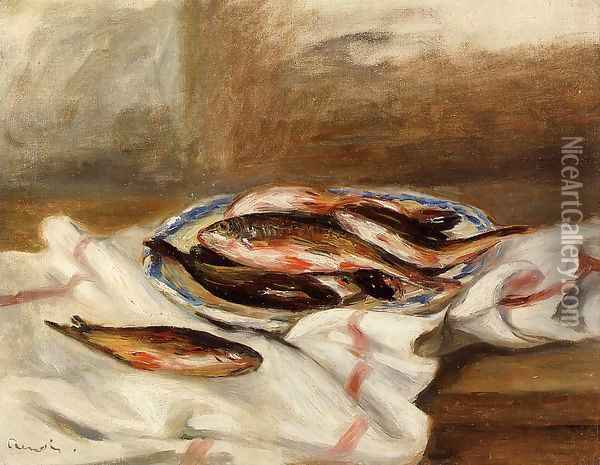 Still Life With Fish Oil Painting - Pierre Auguste Renoir