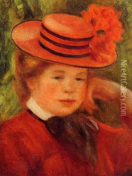 Young Girl In A Red Hat Oil Painting - Pierre Auguste Renoir