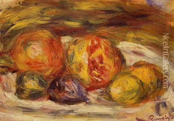 Still Life Pomegranate Figs And Apples Oil Painting - Pierre Auguste Renoir