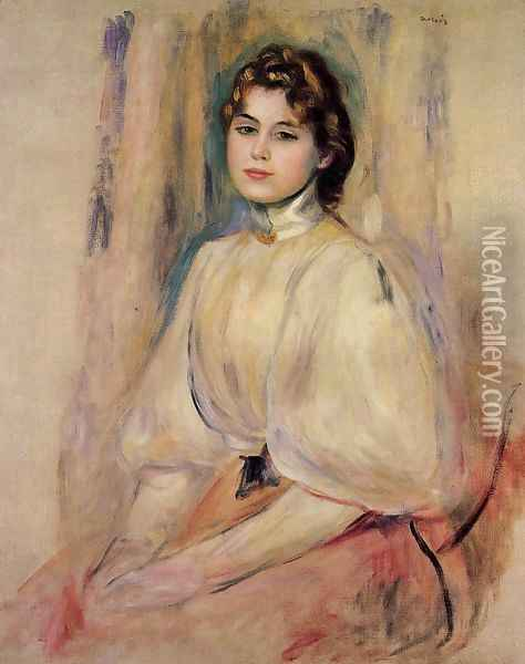 Seated Young Woman Oil Painting - Pierre Auguste Renoir