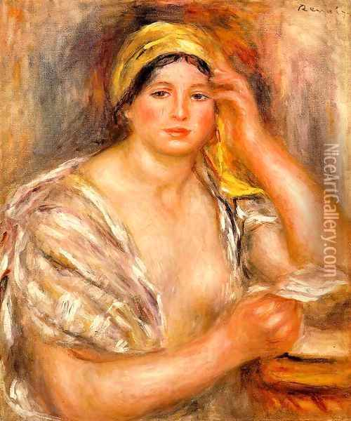 Woman With A Yellow Turban Oil Painting - Pierre Auguste Renoir