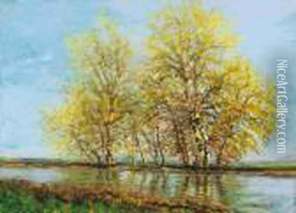 Early Spring (trees By The Water) Oil Painting - Laszlo Mednyanszky