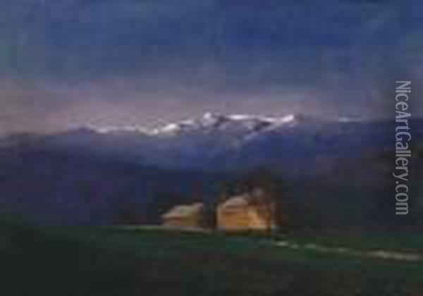 Evening Lights In The Tatra Mountains Oil Painting - Laszlo Mednyanszky