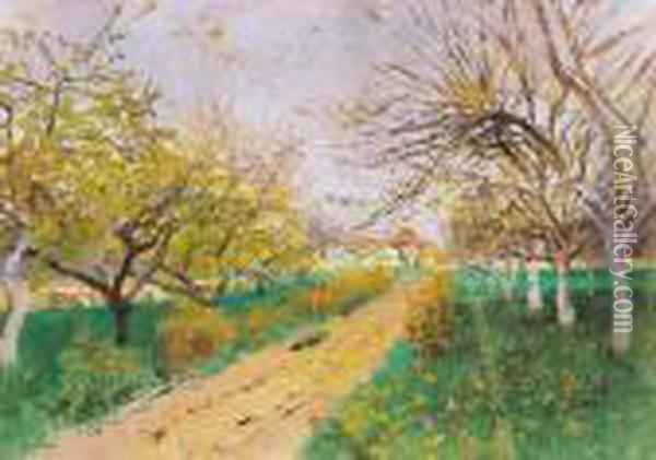 Spring In The Orchard Oil Painting - Laszlo Mednyanszky