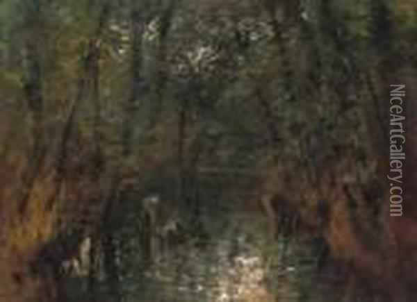 Forest Interior With A Stream, About 1900 Oil Painting - Laszlo Mednyanszky