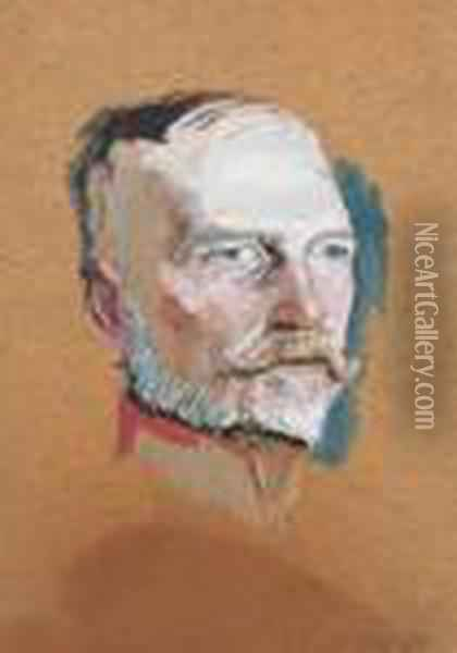 Head Of A Soldier From The First World Oil Painting - Laszlo Mednyanszky