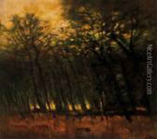 Forest Lights (fires In The Forest), About 1910 Oil Painting - Laszlo Mednyanszky