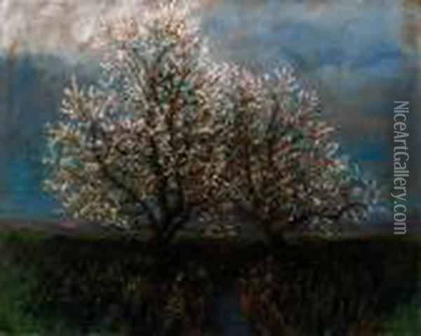 Blossoming Trees Oil Painting - Laszlo Mednyanszky