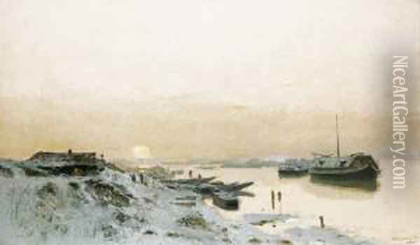 Sunrise By The Snowy Riverside Oil Painting - Laszlo Mednyanszky