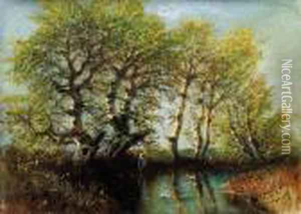 Riverside Lit By Afternoon Sunlight Oil Painting - Laszlo Mednyanszky