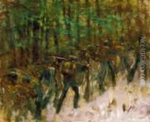 Soldiers In Winter Forest, 1914-18 Oil Painting - Laszlo Mednyanszky