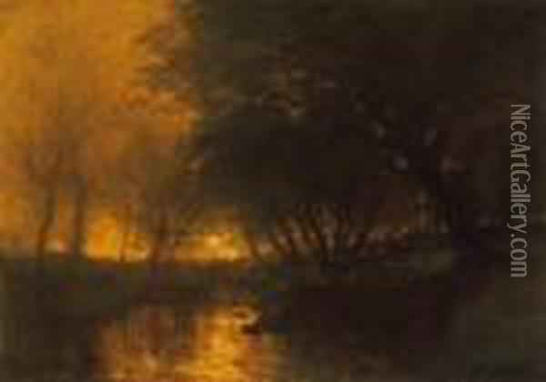 Riverside With Lights Oil Painting - Laszlo Mednyanszky