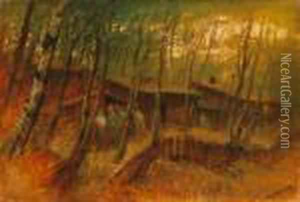 Soldiers In The Forest, About 1914-1918 Oil Painting - Laszlo Mednyanszky