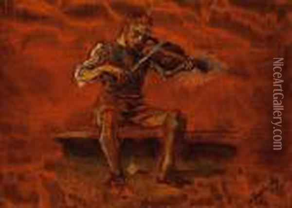 Playing The Violin Oil Painting - Laszlo Mednyanszky