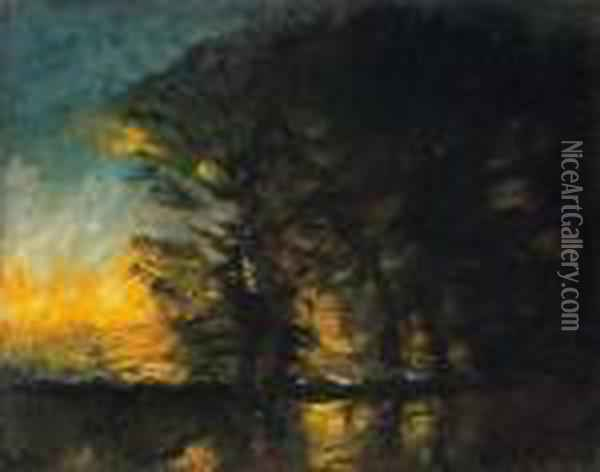 Twilight Among The Trees Oil Painting - Laszlo Mednyanszky