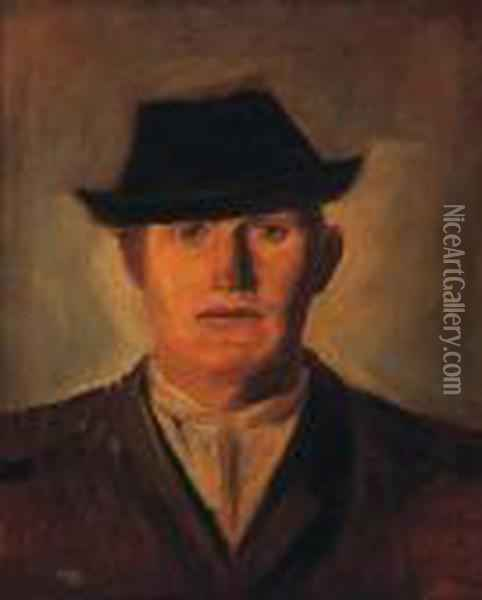 Man In A Hat Oil Painting - Laszlo Mednyanszky