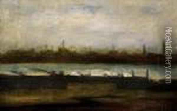 View With A River Oil Painting - Laszlo Mednyanszky
