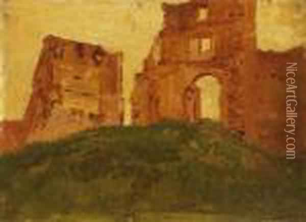 Ruins Of The Castle Of Becko Oil Painting - Laszlo Mednyanszky