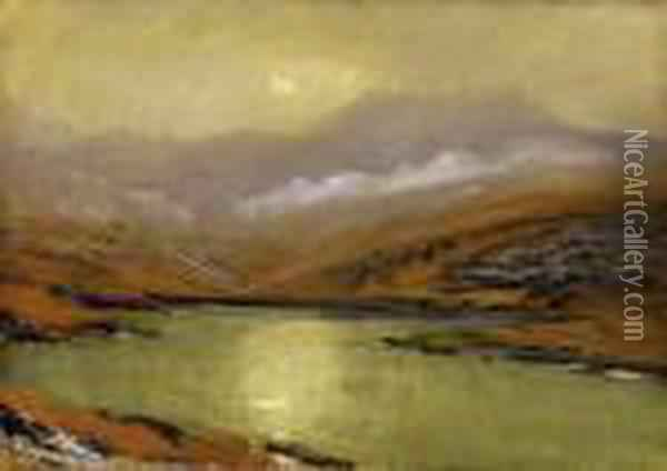 Hazy Mountains With With The Sun Reflecting In The Lake Oil Painting - Laszlo Mednyanszky