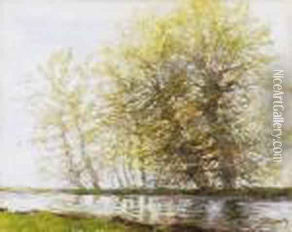Trees By The Riverside Oil Painting - Laszlo Mednyanszky